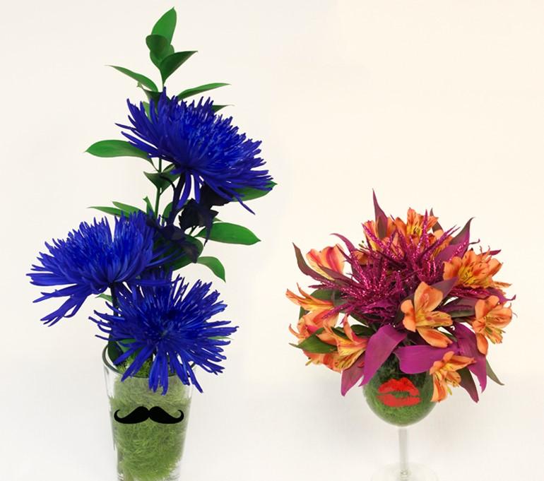 """Valentine's Day Twist: DIY """"His and Hers"""" flower arrangements"""